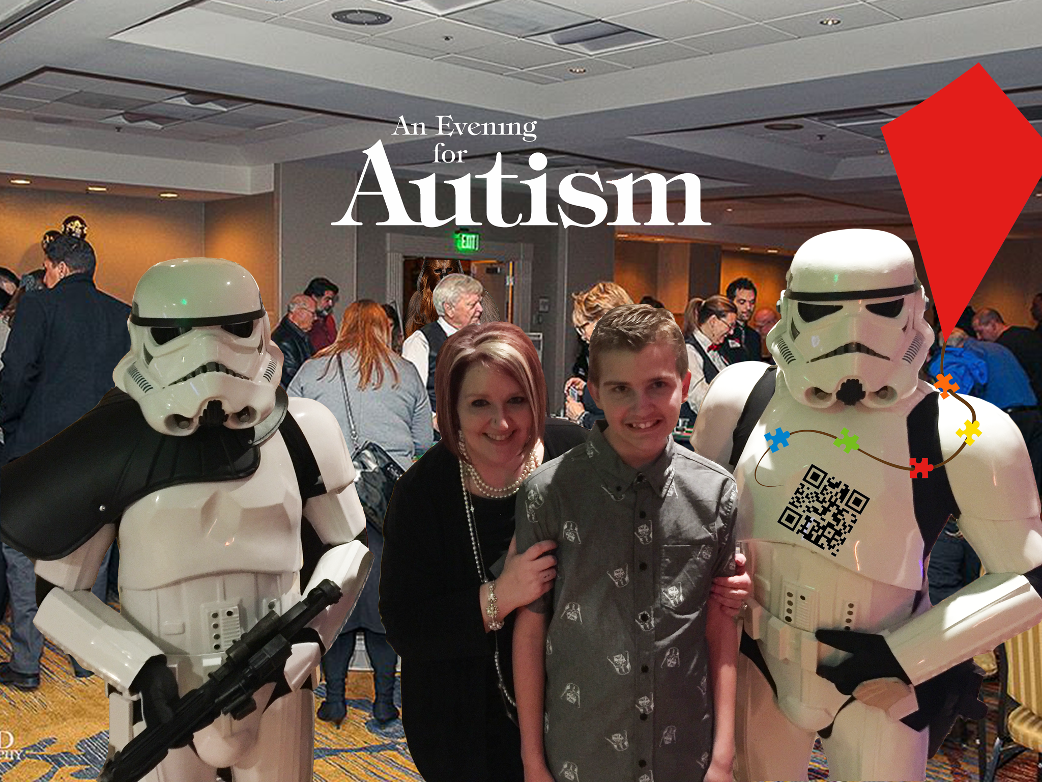 An Evening For Autism - Participants, Games, Storm Troopers, Chewbacca In Ballroom